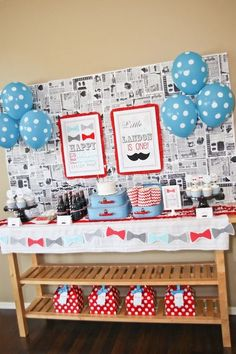 """Little Man"" First Birthday Party - love the use of moustaches + bow ties for this darling party!"