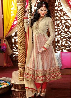 Trendy cream net ankle length anarkali suit $162.00 for tanny when she gets patli !!!!!