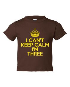 I Can't Keep Calm I'm THREE Great T Shirt For 3rd BIRTHDAY Makes Great Gift All Colors Available Sized From 6 Months To 5-6T Great Gift on Etsy, $15.95