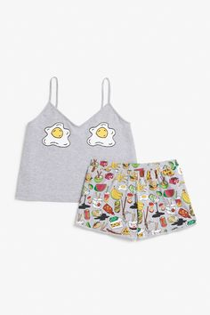 <p>Sleepwear gets spiffed up in this comfy spaghetti strap singlet and breezy shorts. In a lovely printed stretch cotton blend. <br /><br />colour: <em>Patt
