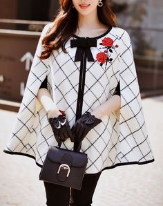 White Checkered Bowknot Cape Coat I found this beautiful item on VIPme.com.Check it out!