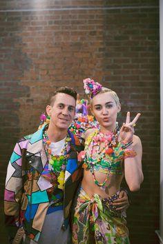Jeremy Scott and Miley Cyrus backstage at Jeremy Scott SS15
