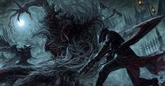 blood bloodborne boots cape cleric_beast demon eileen_the_crow gloves hat mask moon night realistic sword tatsuya_(atelier_road) the_hunter weapon Bloodborne Art, Hd Wallpaper, Game Art, Dark Souls, Lovecraftian, Dark Fantasy, Wallpaper Backgrounds, Beast, Art