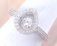 """Solid 925 Sterling """"Gems in Motion"""" CZ Teardrop Ring!!! Size 7 Only"""