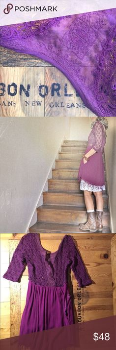 """FREE PEOPLE, Purple Lace Tunic Dress, Size 2* FREE PEOPLE, Purple Lace Tunic Dress, Size 2* Beautiful detail but there's a small patched hole by one of the side pockets. with flaw *Purple plaid patch violet thread so it's not conflicting with the look of the dress (to the contrary I think) but it's there so only buy if you're ok with that -- priced accordingly.   PICS ARE COURTESY OF """"londonerus"""". Thank you! Free People Dresses"""