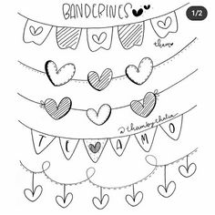 Easy Drawings Sketches, Cute Easy Drawings, Card Sketches, Bullet Journal Writing, Bullet Journal School, Xmas Drawing, Doodle Frames, Scrapbook Borders, Love You Images