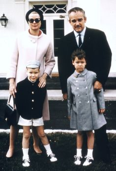 Grace Kelly and Rainier III, the Prince of Monaco, with their son and daughter at the Greenbrier.