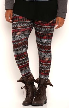 Deb Shops Plus Size Tribal Print Leggings $10.00