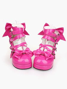 9a3287fef4a8 Glossy Rose Red Lolita Chunky Heels Shoes Ankle Straps Heart Shape Buckles  Bows Decor