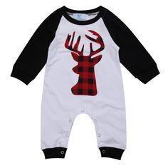 c0c16c90507 Amazon.com  Canis Unisex Newborn Baby Boys Girls Christmas Romper Long  Sleeve Lattice Deer Jumpsuit (0-6M