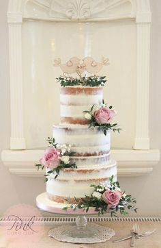 Naked Wedding Cakes — The Pink Cake Box Wedding Cake Design Wedding Cake Images, Wedding Cake Roses, Floral Wedding Cakes, Wedding Cake Rustic, Wedding Cake Designs, Wedding Themes, Wedding Flowers, Wedding Decorations, Floral Cake