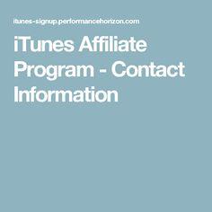 iTunes Affiliate Program - Contact Information