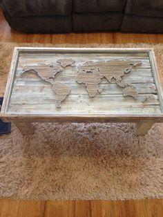 String Art World Map Shabby Chic Coffee Table by KarasCornerShop