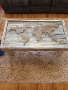 String Art World Map Shabby Chic Coffee Table by KarasCornerShop