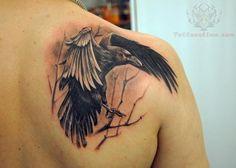Crow Landing On Tree Tattoo