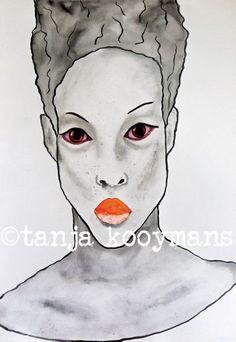 portret  schilderskunst vrouwenportret kunst door TanjaKooymansArt