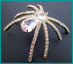 Vintage Spider Brooch Pin Clear Crystal by BrightgemsTreasures, $34.50