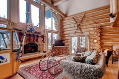 Ski Classic Lodge is a beautiful villa for rent in Breckenridge, CO. View info, photos, rates here. Plaid Bedroom, Bedroom Decor, Christmas Lodge, Beautiful Villas, Home Cinemas, Skiing, Luxury, Classic, Interior