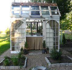 recycling windows... Gewächshaus aus recycelten Fenstern