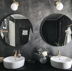 Grey Bathrooms, Mirror With Lights, Round Mirrors, Light In The Dark, Laundry Room, Sink, Contemporary, Wall, Furniture