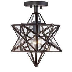 """Cuthbert Clear Glass 13"""" Wide Black Iron Star Ceiling Light"""