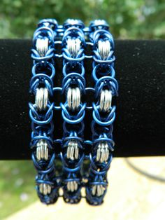 Triple Byzantine in Blue and Silver by DKSC on Etsy, $50.00
