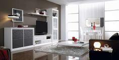 Mueble Salón Hermes1 980€ #muebles_salon #muebles #precio #mueblesmadrid #muebles_modulos #muebles_blanco_gris Modern Tv Cabinet, Muebles Living, Tv Wall Design, Tv Cabinets, Modern Decor, Sweet Home, Living Room, Interior Design, Bedroom