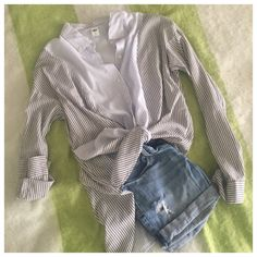 Super Soft Striped Button Down NWOT Blue whit gray/soft black. Summery and soft Tops Button Down Shirts