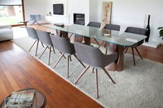 Lili chairs in gray from Sandler Seating. Upholstered side chair on wooden legs.