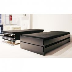Twice Pile of bed by Hertel Klarhöfer for Authentics. The bed is made of MDF. Included one bed Space Saving Furniture, Small Furniture, Furniture Design, Upholstered Furniture, Bedroom Furniture, Daybed In Living Room, Fold Out Beds, Daybed Design, Convertible Furniture