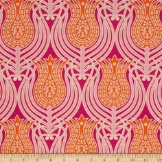 Joel Dewberry Notting Hill Tulips Tangerine from @fabricdotcom  Designed by Joel Dewberry for FreeSpirit, this fabric features a geometric tulip motif, and is perfect for quilting, apparel and home decor accents. Colors include cream, magenta, pink and tangerine.