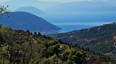 View from the mountains of Lefkada down to Vassiliki village