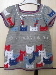 Платье с котиками | Вязание для девочек | Вязание спицами и крючком. Схемы вязания.