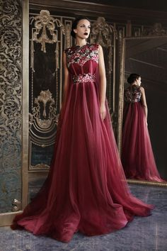 Hand Embroidered with Swarovski Tulle Gown Rami Kadi Couture