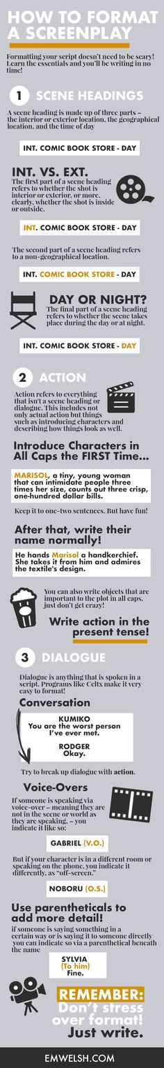 How to Learn the Screenwriting Format and Rules Have you always wanted to write a screenplay, but you're caught up with the format and the rules? With my FREE workshop and tech training I've made it super super easy for any storyteller to learn how to w Script Writing, Writing Advice, Writing Resources, Writing Help, Writing A Book, Screenplay Format, 7 Arts, Film Tips, Creative Writing