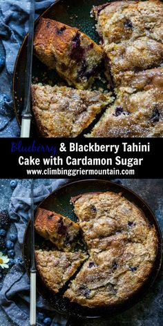 blueberry & Blackberry Tahini Cake with Cardamon Sugar is an easy, one-bowl cake fit for any occasion! Fresh blueberries and blackberries are baked into a fluffy batter and then topped with tahini and cardamon sugar. You'll want a slice or two! Gf Recipes, Fruit Recipes, Fall Recipes, Appetizer Recipes, Sweet Recipes, Baking Recipes, Dessert Recipes, Chard Recipes, Cupcake Recipes