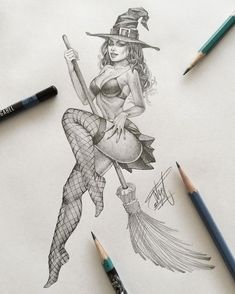 Happy Haloween by OGAbel - # Happy Haloween by OGAbel - # drawings ideas sketches Sexy Drawings, Art Drawings Sketches, Tattoo Drawings, Fantasy Kunst, Fantasy Art, Fantasy Witch, Art Du Croquis, Witch Drawing, Witch Tattoo