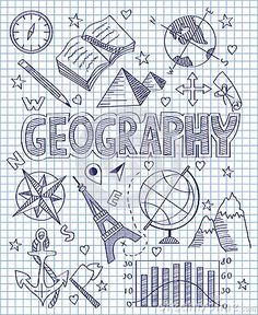Photo about Vector illustration of Hand drawn Geography set. Illustration of direction, collection, diagram - 49512592 Diy Notebook, Decorate Notebook, Notebook Covers, Bullet Journal Ideas Pages, Bullet Journal Inspiration, Project Cover Page, School Binder Covers, School Notebooks, Sketch Notes