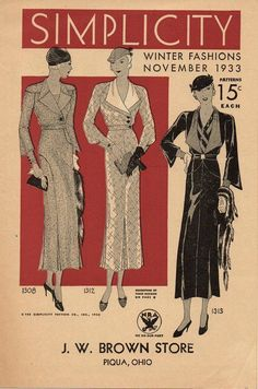 Simplicity Winter Fashions, November 1933 featuring Simplicity 1308, 1312 and 1313