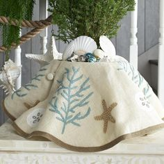 Sea Inspired Coastal Christmas Decor & Ornament Collections to love. Tree ornaments, tree skirts, stockings, pillows, and decorative access. Beach Christmas Trees, Coastal Christmas Decor, Nautical Christmas, Tropical Christmas, Blue Christmas, Christmas Themes, Christmas Holidays, Christmas Decorations, Modern Christmas