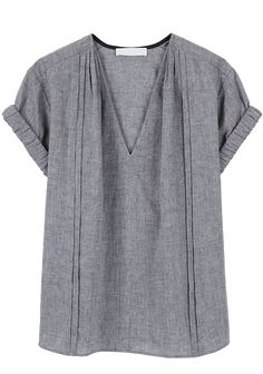 grey denim blouse, shoulder pleats