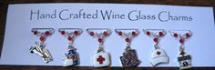 Wine Charms Wine Glass Charms Medical by Makewithlovecrafts Christmas Stocking Fillers, Great Christmas Gifts, Crystal Gifts, Wine Glass Charms, Nurses, Teacher Gifts, Swarovski Crystals, Birthday Gifts, My Etsy Shop