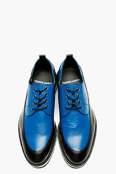watch a7db0 7e31e PIERRE HARDY Blue   Black Leather Derbys Style Bleu, Mens Fashion Shoes, Shoes  Men