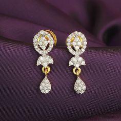 Jhumka/Jhumki Drop Dangler AD/CZ  Indian Bollywood Ethnic Bridal Earrings #DesaiJewellers #DropDangle