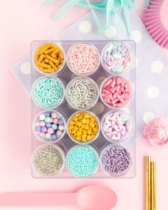 Unicorn Sprinkles, Candy Sprinkles, Rainbow Sprinkles, Fun Party Themes, Party Ideas, Cotton Candy Party, Sprinkle Party, Girl Birthday Decorations, Unicorn Party Supplies