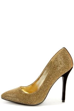 Bamboo Spiral 12 Gold Glitter Pointed Pumps / Lulus.com