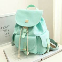 Finally! I found the Sweet Candy Canvas College Rucksack Mint Green Pure Color Girls Backpack from ByGoods.com. I like it so so much!