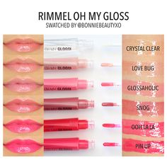 Rimmel Oh My Gloss: I love Crystal Clear, as well as Glossaholic which is a nice neutral color which goes well with my bright eye makeup. The applicator wand is wonderful, too.