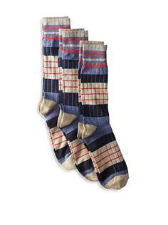 Florsheim Men's Multicolor Stripe Socks (3 Pair) (Navy)
