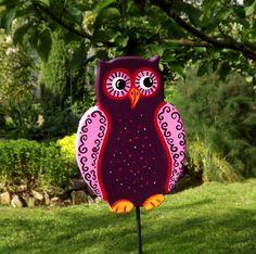 Gartenstecker++Eule,+Gartendeko+Tiere,+Beetstecker+von+KIMAMA-design++auf+DaWanda.com